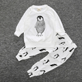 Autumn baby boy clothing set infant long sleeves O-Neck cotton animal penguin cute printing clothing set ropa de bebe