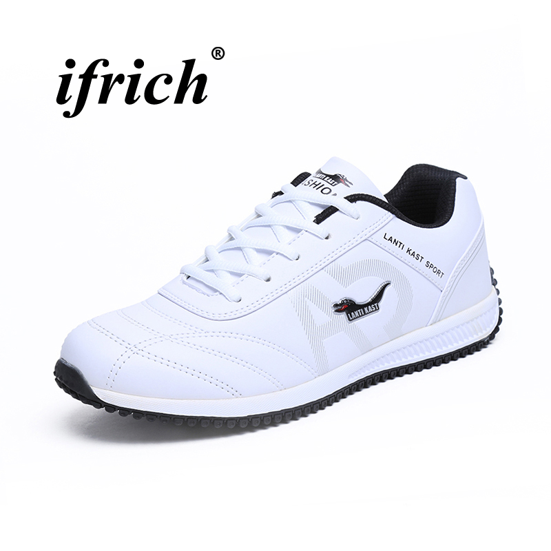 2018 Mens Sports Shoes Running White Black Sneakers Pu Leather Comfortable Men Athletic Shoes Spring Autumn Mens Trainers nike men s indee high shoes athletic sneakers leather white