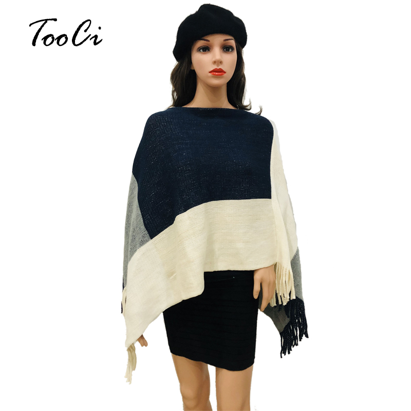 763867ce4 US $12.27 48% OFF|2018 Autumn Winter Dark Blue Sweater Lady Square  Stitching Tassels Poncho Long Knitted Pullovers Knitted Cape Women Poncho  Coat-in ...