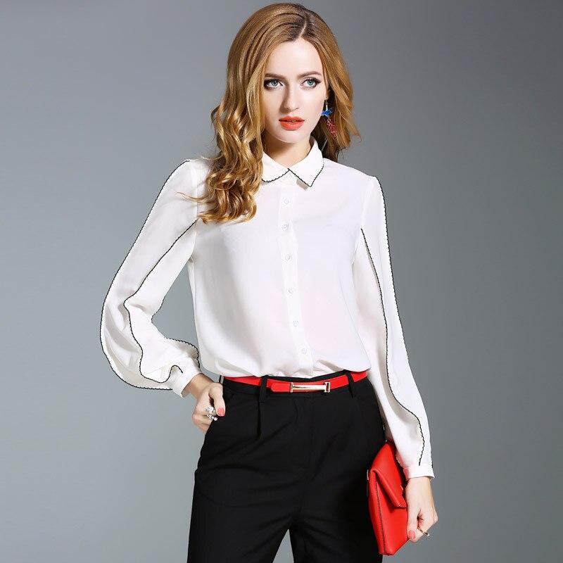 Loose chiffon blouse top quality women autumn shirt 2017 new brand runway fashion lantern sleeve single breasted shirt