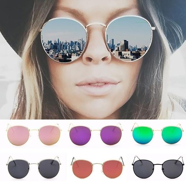 Fashion Retro Round Sunglasses Women Brand Designer Sun Glasses For Women Alloy Mirror Sunglasses female oculos de sol UV400