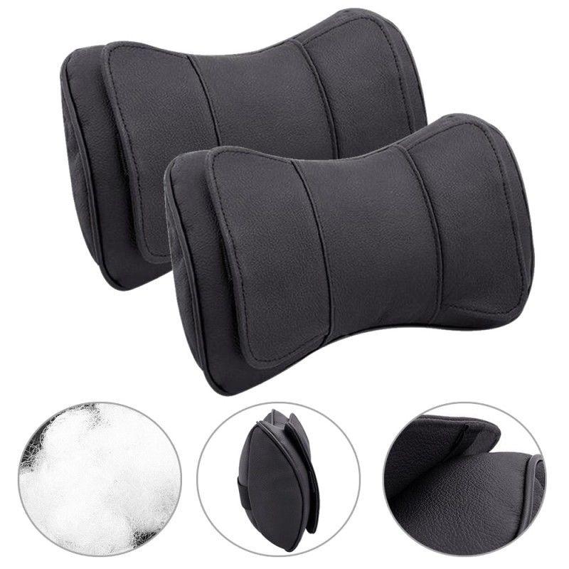 2pcs Black Leather Headrest Pillows Cushion 25*15*8cm Car Truck Seat Headrest Neck Rest Cushion Head Rest Pillows Accessories