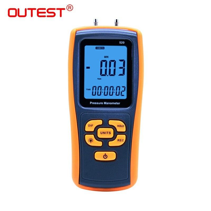 150KPa Digital LCD display GM520 Pressure manometer yellow differential manometer pressure gauge dual lcd digital piezometer with portable differential pressure gauge ht1890