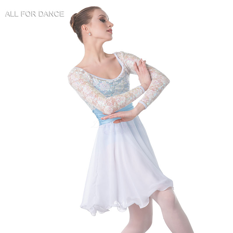 New white sequin top Bodice chiffion skirt Lyrical Dance Costume Women Ballet Costume Dance Dress Girl Dance Costumes image