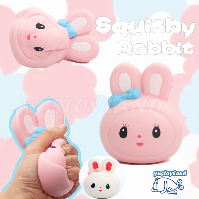 2017 12CM Jumbo Squishy Rabbit Head Kawaii Cute Animal Soft Slow Rising Phone Straps Bread Bun Cake Sweet Charm Kid Toy Gift Fun