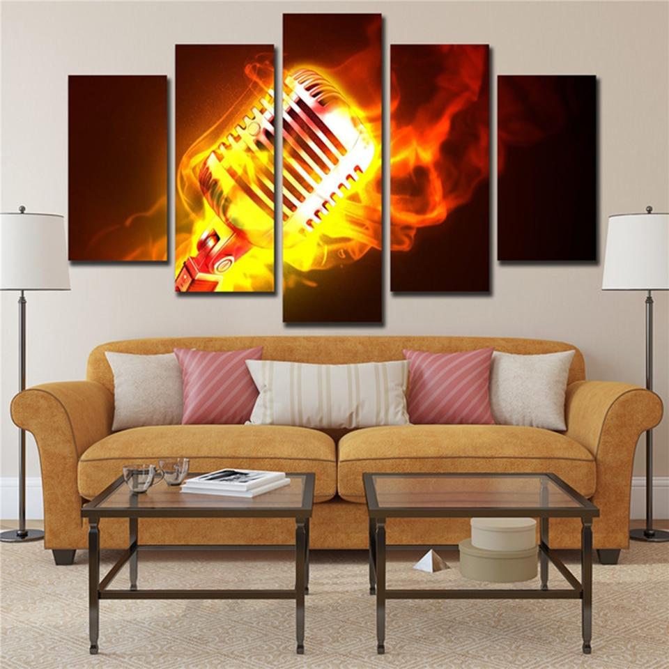 Модульные дома Декор печать на холсте 5 Панель абстрактный огонь микрофон музыка роспись стены Книги по искусству фотографии для Декор в го...