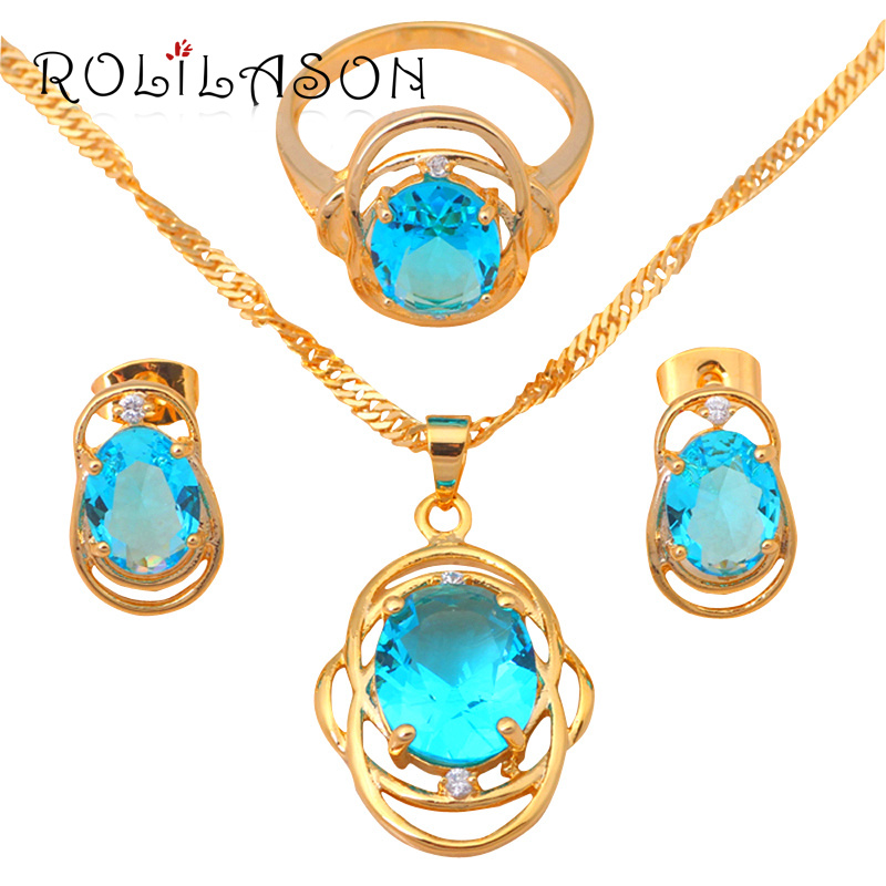 ROLILASON Classic style Fashion jewelry gold Tone Light Crystal wedding items Jewelry Sets Earrings Necklace JS525