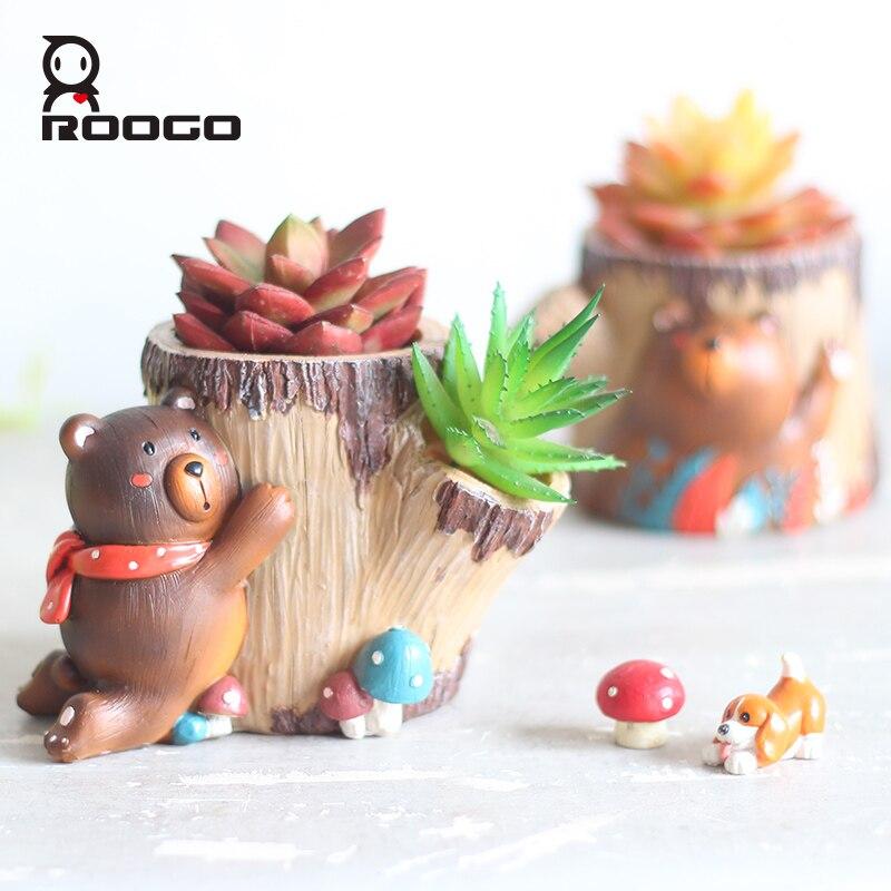 Купить roogo горшочки с животным для цветов медведь дерево форма украшения