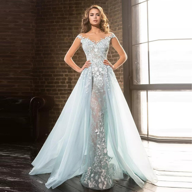 15c1c971a341a 2018 Light Blue Overskirts Prom Gowns Arabic Mermaid Sheer Jewel Lace Applique  Beads Tulle Formal Evening Party Gowns Vestido-in Dresses from Women s ...