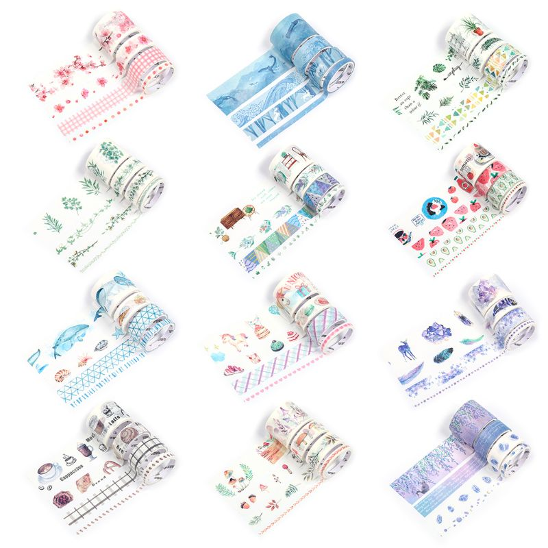 DIY Pocket Book Tape Colorful Series Foundation 4 Volume Boxed Diary Sticker Paint Washi Tape 12 Random