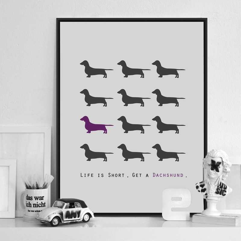 Dachshund Dog Canvas Art Print Painting Poster, Wiener Sausage Dog Wall Picture For Home Decoration Wall Decor