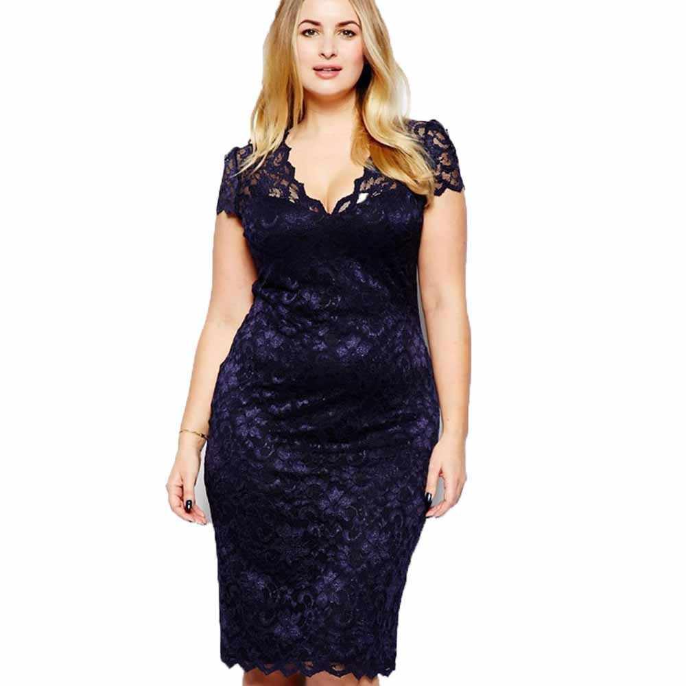 Wipalo Plus Size Women V Neck Elegant Lace Dress Summer Sexy Crochet Hollow  Out Evening Sheath e44640792dcd