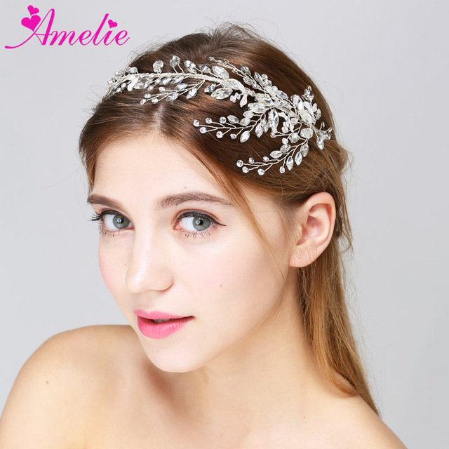 2pcs Lot Free Shipping Wedding Hair Crown Crystal Leaf Floral Bridal  Headband Bride Prom Headpiece Hair Accessories for Wedding ac6aeb3c2090