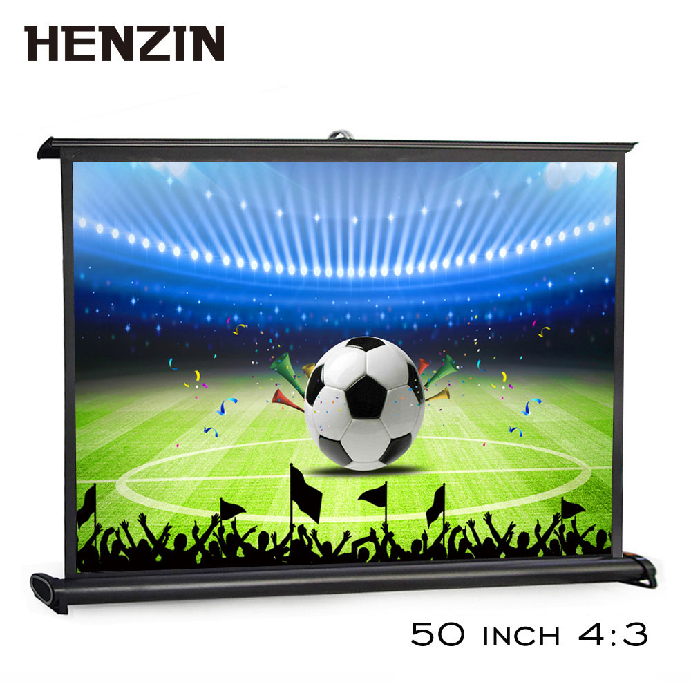 50 Inch 4:3 Portable HD Tabletop Projector Screen Roll & Pull Collapsible Matte White Projection Screen For Home Cinema & Office fast free shipping 100 4 3 tripod portable projection screen hd floor stand bracket projector screen matt white factory supply