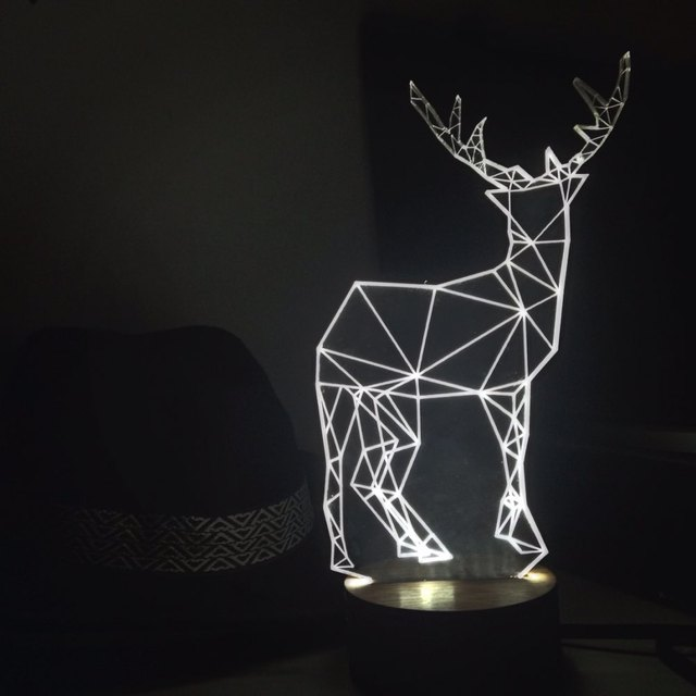 Led 3d Geometric Deer Lamp Christmas Mood Night Light
