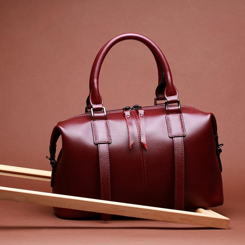 DIENQI High Quality Soft Genuine Leather Women Handbags New Arrivals Fashion Boston Female Shoulder Bags Luxury