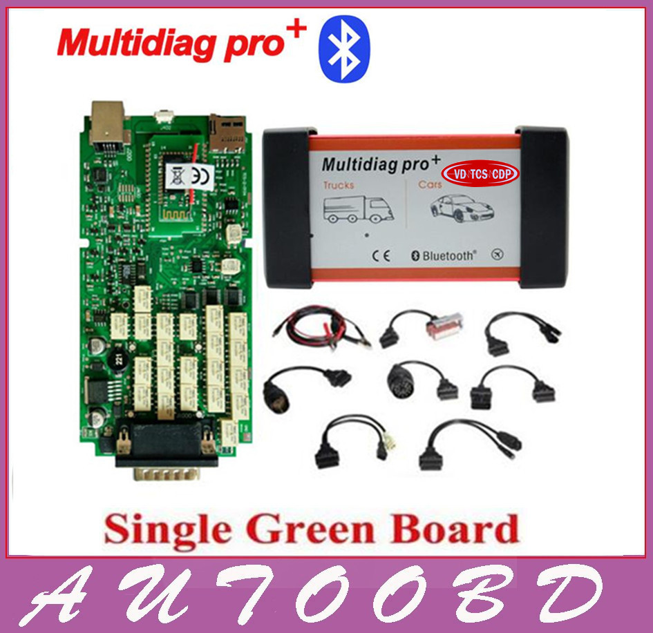 DHL Free Multidiag pro Green Single Board PCB VD TCS CDP PRO 2014.R2 Keygen Bluetooth+full set 8pcs car cable for Cars Trucks single green board multidiag pro 2014 r2 keygen