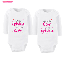 Culbutomind Long Sleeve Fashion Baby Twins Clothing Sets Infant Boy Girl Clothes Bebe Jumpsuit Twins Baby Clothes Sets I Am The