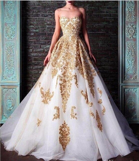 Blanco vestidos de noche dorado apliques de encaje balón vestido de ...