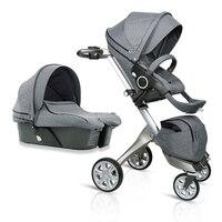 Fashion High Quality Folding Baby Stroller 2 in 1 Pram, Baby Carriage, Pushchair Plus Sleeping Basket, Bidirectional Baby Buggy