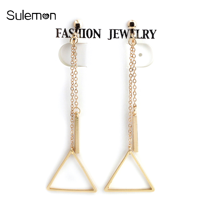 Us 1 25 60 Off Metal Triangle Clip Earrings No Ear Hole Fashion Simple Geometry Earring Without Piercing Women Long Tels Ce140 In