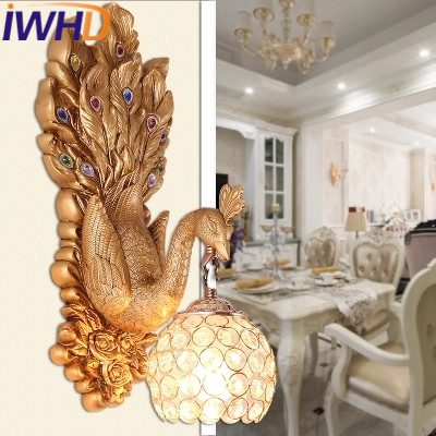 IWHD Peacock Resin LED Wall Lamp Modern Crystal Wall Light Fixtures Fashion Iron Sconce Home Decor Lighting Stairs Luminaire modern fashion modern wall sconces iron wooden led wall light fixtures wood aisle home indoor lighting bedside wall lamp