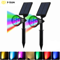 T SUN 2PCS Solar Spotlights 7 LED Outdoor Color Changing Wall Light Adjustable Auto On Off