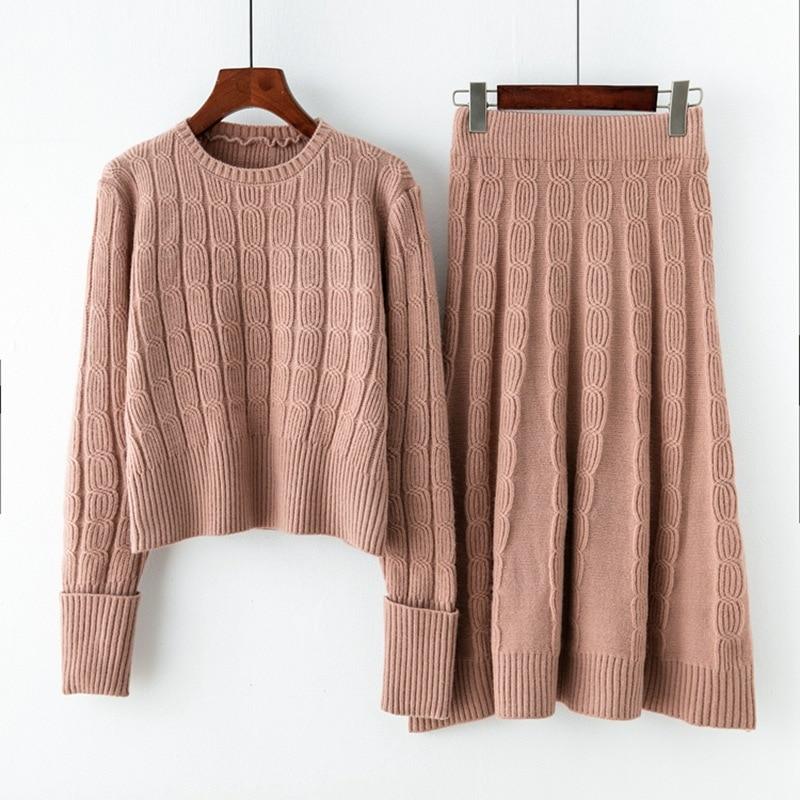 2 piece set women fashion long sleeved loose sweater and half length skirt set autumn new sweater sweater women's elegant suit