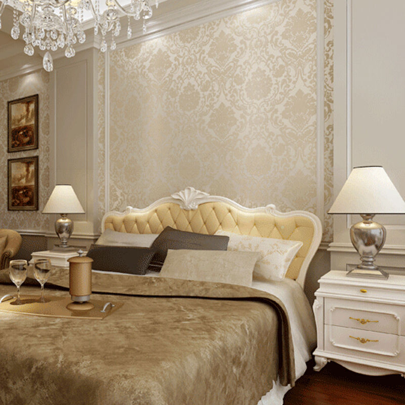 Compare prices on beige damask wallpaper online shopping for Damask wallpaper living room ideas