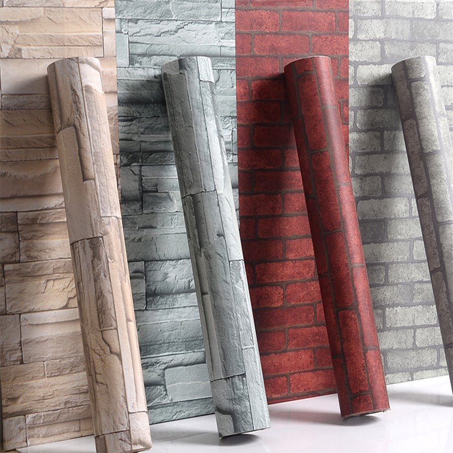Vintage Brick Stone Peel and Stick Wallpaper for Living ...