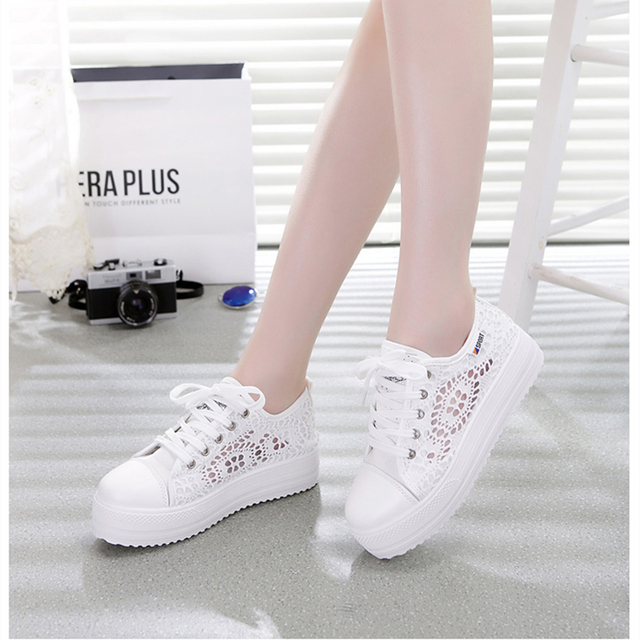 Summer Women Shoes Casual Cutouts Lace Canvas Shoes Hollow Floral Breathable Platform Flat Shoe sapato