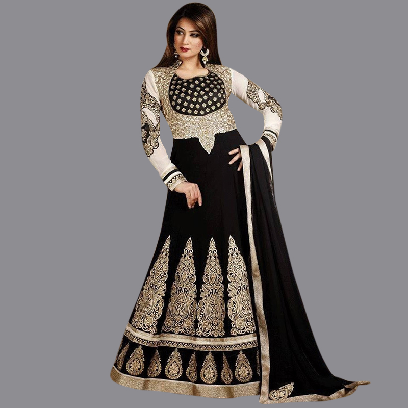 Vimans luxury gold black evening dresses kaftan dubai for Long sleeve indian wedding dresses