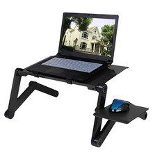 Adjustable Aluminum Laptop Desk Table Ergonomic TV Bed Lapdesk Tray PC Notebook Table Desk Stand With Cooling Fan Mouse Pad стоимость