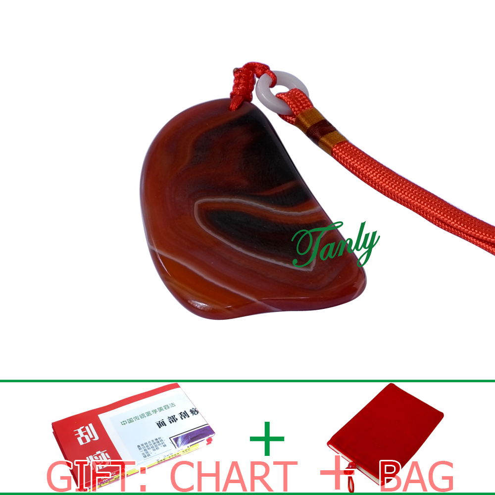 Traditional Acupuncture Massage SPA Tool Guasha Beauty kit Natural Red Agate Stone small triangle shape
