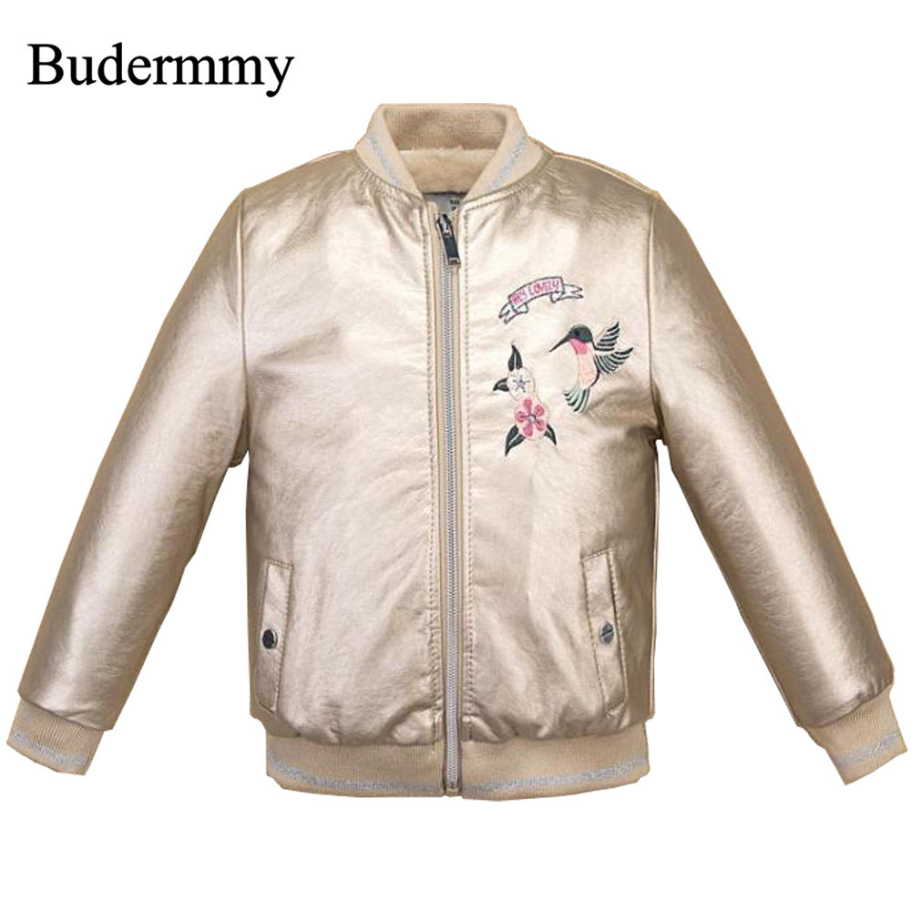 Girls Faux Leather Motorcycle Biker Jackets Children Fashion Winter Coats Kids Flower Gold Jackets for 3-12 Years Toddler Girls 2017 fashion teenager motorcycle coats boys leather jackets patchwork children outerwear letter printed boy faux leather jacket