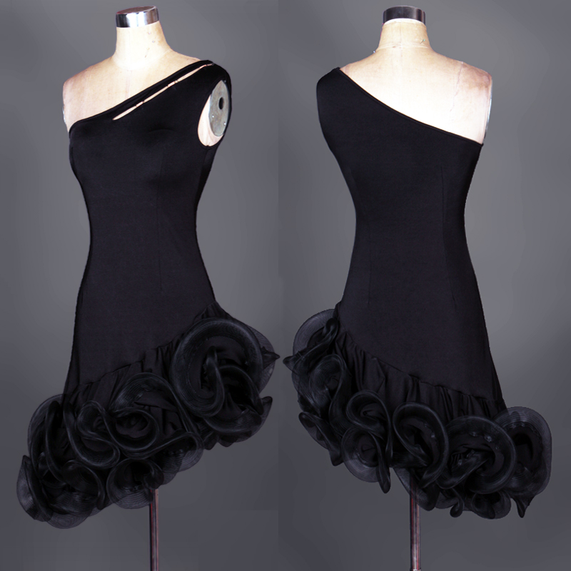 Picture of Black Cha-Cha Latin Dance Dress Rumba International Dance Competition Clothing Square Dance Costumes Large Swing Dance Dress