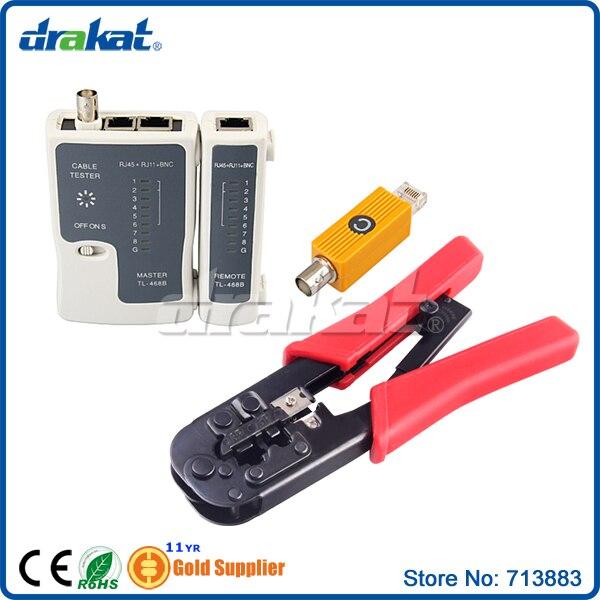 Ensembles d'outils de sertissage réseau avec testeur de câble pour RJ11 RJ45 BNC modulaire