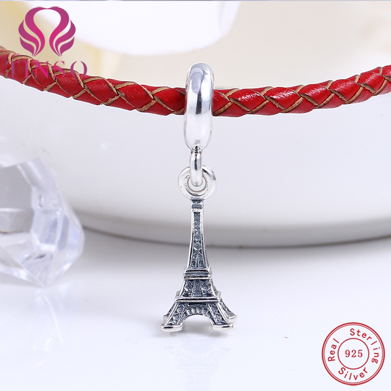 100% Authentic 925 Sterling Silver Eiffel Tower Charm Beads Fit Pandora Charms Beads Bracelet DIY Original Silver Jewelry Making real 925 sterling silver charm flower safety chain beads diy for fashion fit original pandora charms bracelet jewelry making