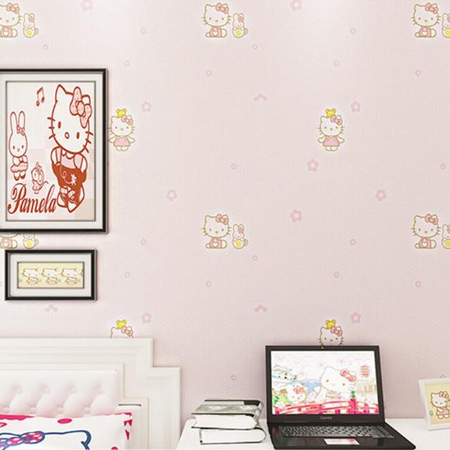 Environmental non woven wallpaper roll hello kitty wallpaper for
