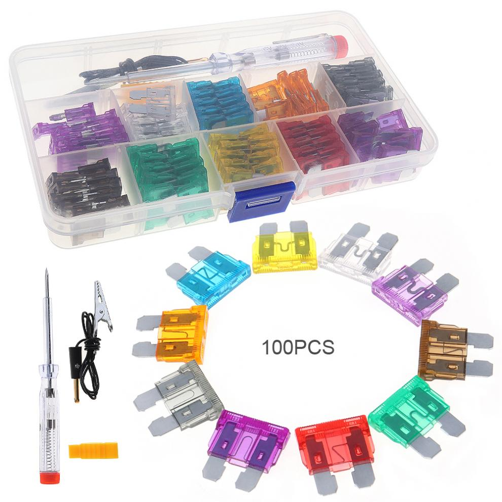 Hot Sale 100pcs Car Auto Automotive Fuse Plugs Blade Box Tools Assortment With Test Pencil And Clip