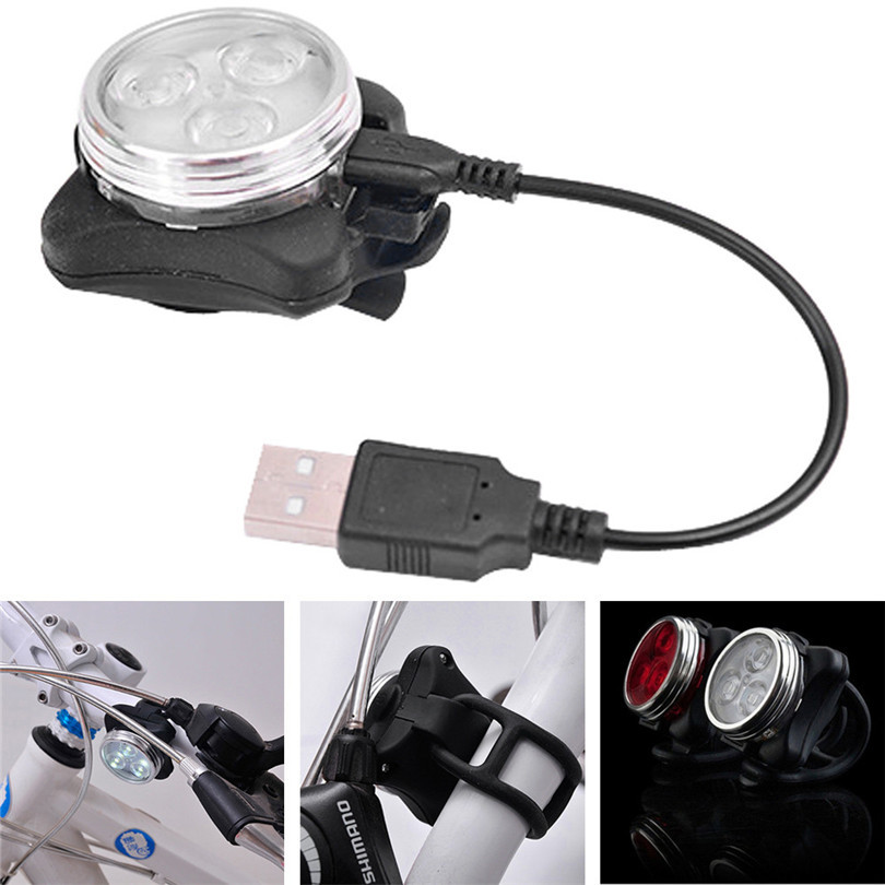 B2 Hot 3 LED Cycling Bicycle Bike Head Rear USB Rechargeable Tail Clip Light Lamp Classic Retail&Wholesale Free Shipping ...