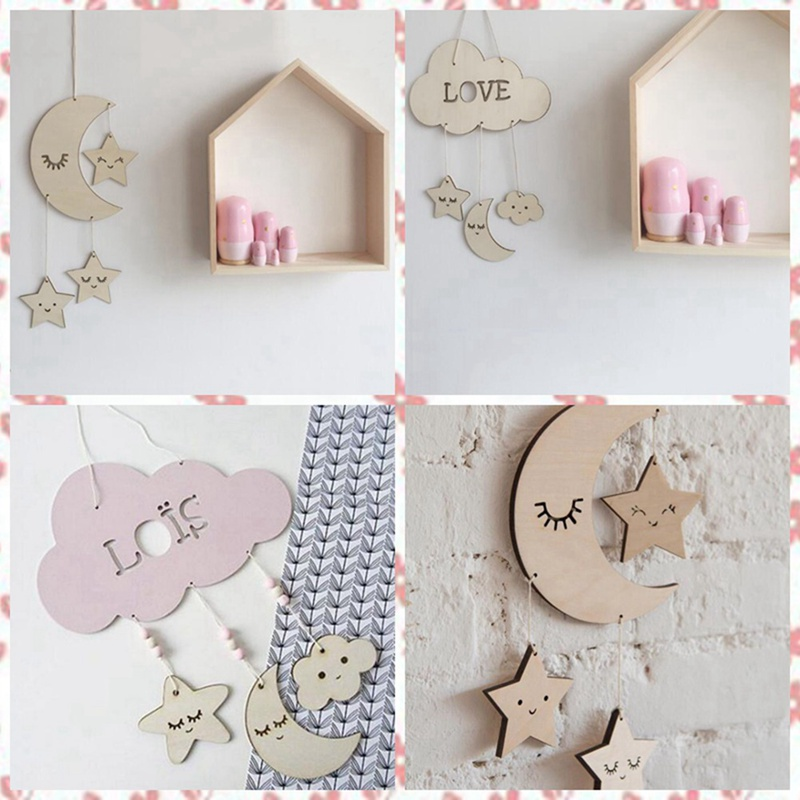 f2b43f4365d42 US $3.35 5% OFF|Sleeping Wooden Cloud and Raindrop Dream Catcher Hanging  Plaque Boys Nursery Decor Baby Mobile Star and Cloud Mobile-in Wind Chimes  & ...