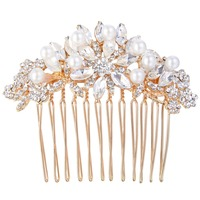 BELLA 2016 New Rose Gold Plated Ivory Simulated Pearls Bridal Hair Comb Austrian Crystal Oval Tear
