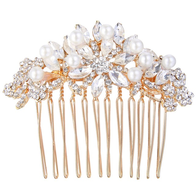 BELLA Fashion Rose Gold Tone Ivory Simulated Pearl Small Bridal Hair Comb  Austrian Crystal Oval Tear Drop Wedding Accessories 222f6774121c