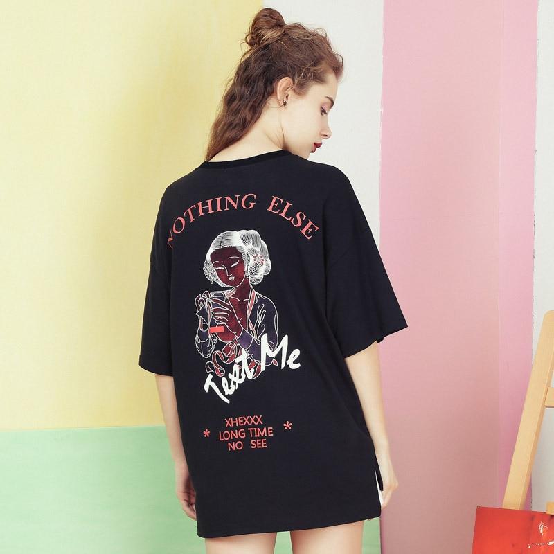 LISER New T Shirt Female Sweatshirt 2019 Women's Oversized T shirt O neck Casual Harajuku Shirt Streetwear