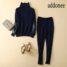 addonee Style Autumn Winter Cashmere Wool Women s Sets Sweater Trousers  Turtleneck 76b504f53cc0