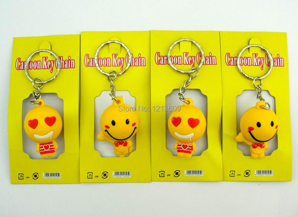 12pcs Cartoon Smile Face 3D Key Chain Fashion Key Ring Accessories Xmas Gifts For Kids