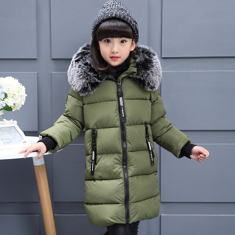 Winter Thick Jacket For Girls Long Parkas Coats For Children Cotton-padded Outerwear 6 8 10 12 14 Years Girls Overcoat winter women long hooded coat slim parkas thickening basic warm outerwear female wadded padded jacket cotton coats pw0994