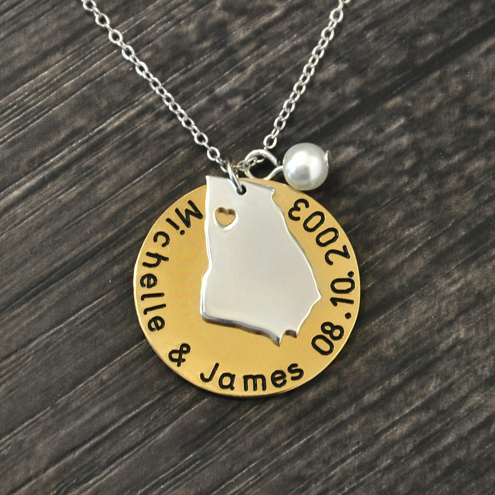 Georgia Necklace,ANY City State Necklace,Personalized state Necklace,State Jewelry,coordinate pendant,Latitude and longitud state by state mechanics lien