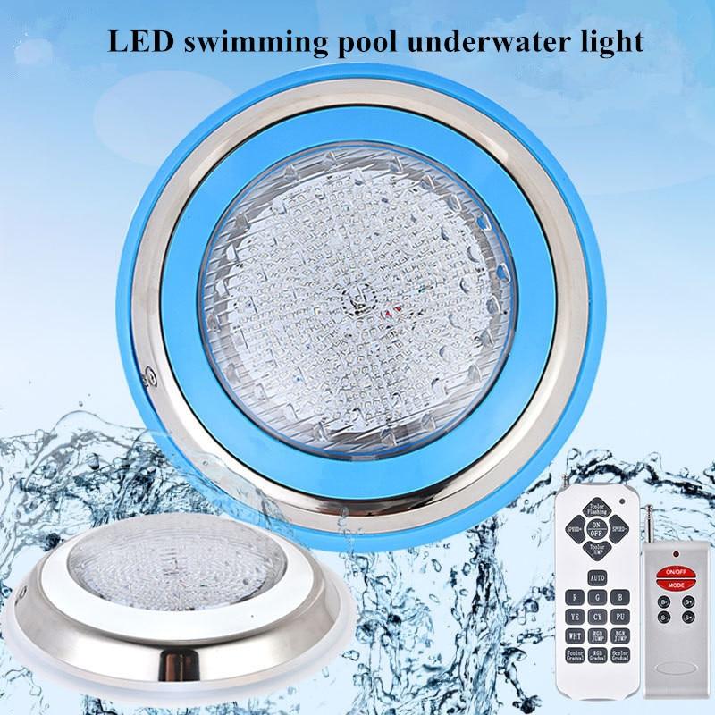 Par56 paslanmaz halka 18W 216LED yüzme havuzu lambası IP68 dalgıç sualtı ışığı RGB çok renkli AC12V çeşme duvar ışık